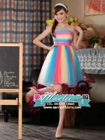 Pre-order ชุดแฟนซีสั้น แบบเกาะอก สีรุ้ง Rainbow เนื้อผ้าตาข่ายสวยน่ารัก (ซิปหลัง)