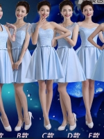 Pre-order ชุดราตรีสั้น ชุดเพื่อนเจ้าสาว PE-616 สีฟ้า เนื้อผ้าลูกไม้ กรโปรงผ้าซาติน เอวคาดโบว์สวย (เชือกผูกหลัง)