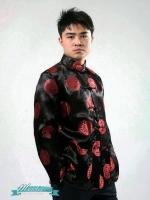 Pre-order ชุดจีน ชาย เสื้อคอจีน ผ้าไหมจีน ทอลาย สีดำ