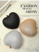 พร้อมส่ง Evening Clutch กระเป๋าออกงาน รูปหัวใจ กากเพชรเนื้อทราย จุกเปิดเพชรหรู พร้อมสายโซ่สะพายยาว (เลือกแบบสีด้านล่าง)