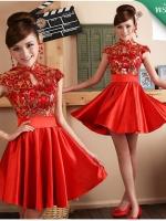 พร้อมเช่า ชุดแฟนซี เช่า 500 ชุดราตรีสั้น ชุดกี่เพ้า คอจีน สีแดง กระโปรงจับจีบสวย