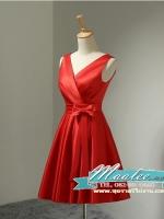 พร้อมเช่า ชุดราตรีสั้น แขนกุด สีแดง ผ้าซาติน คาดเอวสีแดง แต่งโบว์ตรงเอว