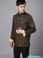 Pre-order ชุดจีน ชาย เสื้อผ้าแพร สีน้ำตาล/ ทอง ใส่ได้สองด้าน
