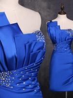 Pre-order ชุดราตรีสั้น เกาะอก ไหล่เดียว สีน้ำเงิน ผ้าซาตินเข้ารูป ปักเลื่อมสวยหรู (เลือกสีอื่นได้)