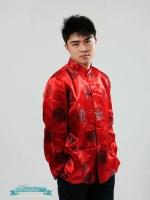 Pre-order ชุดจีน ชาย เสื้อคอจีน ผ้าไหมจีน ทอลาย สีแดง - ดำ