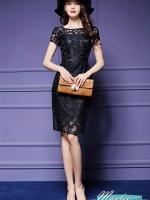 Pre-order ชุดเดรส/ชุดออกงาน ผ้าเกาหลี ผ้าโปร่งปักแขนสั้นลายดอกไม้ สีดำ (ซิปหลัง)