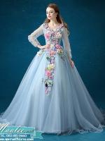 Pre-order / เช่า ชุดแฟนซี ชุดราตรียาว สีฟ้า แขนยาว แต่งดอก Fairy สไตล์เจ้าหญิง กระโปรงพองสวย เชือกผูกหลัง