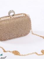 พร้อมส่ง Evening Clutch กระเป๋าออกงาน สีทอง คริสตัลหรูทั้งใบ พร้อมที่จับแบบเก๋ จุกเปิด/ปิด แบบแหวน (พร้อมสายโซ่สั้นและยาว)