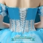 พร้อมเช่า ชุดแฟนซี ชุดราตรียาว สีฟ้า-ขาว แบบไหล่ปาด กระโปรงผ้าแก้วพองสวย แต่งดอก&ลูกปัด เชือกผูกหลัง thumbnail 10