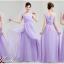 พร้อมเช่า ชุดราตรียาว แขนกุด ชุดเพื่อนเจ้าสาว สีม่วงอ่อน Lavender Lv-002A thumbnail 3