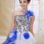 พร้อมเช่า ชุดแฟนซี ชุดราตรียาว สีน้ำเงิน ช่วงอกปักเลื่อม กระโปรงแต่งผ้าโปรงดอกไม้ thumbnail 4