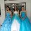 พร้อมเช่า ชุดแฟนซี ชุดราตรี สีฟ้า ขาว หน้าอกลูกไม้ ปักเลื่อมเถาใบไม้ช่วงเอว thumbnail 14
