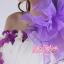พร้อมเช่า ชุดแฟนซี ชุดราตรียาว สีม่วงขาว เกาะอกไหล่เดียว แต่งดอกไม้สามมิติ แต่งระบายที่ไหล่ กระโปรงพองสวย thumbnail 5
