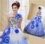 พร้อมเช่า ชุดแฟนซี ชุดราตรียาว สีน้ำเงิน ช่วงอกปักเลื่อม กระโปรงแต่งผ้าโปรงดอกไม้ thumbnail 7