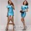 พร้อมส่ง ชุดราตรีสั้น Mini dress ไหล่เดียว สีฟ้า เข้ารูป แต่งโบว์สองชั้น thumbnail 5