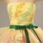 พร้อมเช่า ชุดแฟนซี ชุดราตรียาว แบบเกาะอก กรโปรงผ้าแก้ว สีเหลือง+ชมพู อกแต่งลูกปัดหรู โบว์คาดเอวสีเขียว thumbnail 14