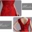 พร้อมเช่า ชุดราตรียาว สีแดง แบบเรียบหรู แต่งลูกไม้เซาะดอก ปักลูกปักมุก thumbnail 7