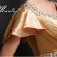 พร้อมส่ง ชุดราตรียาว แบบแขนสั้น ผ้าซาตินสวยสง่า อกจับจีบปักเลื่อมช่วงอก-เอว สีทอง (เชือกผูกหลัง) thumbnail 7
