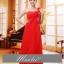 พร้อมเช่า ชุดราตรียาว ไหล่เดียว แบบสวย สีแดง ช่วยพรางหน้าท้อง ปักเลื่อมช่วงรอบคอเสื้อและเอว thumbnail 1