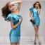 พร้อมส่ง ชุดราตรีสั้น Mini dress ไหล่เดียว สีฟ้า เข้ารูป แต่งโบว์สองชั้น thumbnail 6