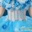 พร้อมเช่า ชุดแฟนซี ชุดราตรียาว สีฟ้า-ขาว แบบไหล่ปาด กระโปรงผ้าแก้วพองสวย แต่งดอก&ลูกปัด เชือกผูกหลัง thumbnail 8