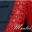 พร้อมเช่า ชุดราตรียาว แบบปาดไหล่ แขนสั้น เนื้อลูกไม้แซมตาข่าย แต่งโบว์ช่วงเอว กระโปรงผ้าซาติน สีแดง (เชือกผูกหลัง) thumbnail 11