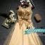 พร้อมเช่า ชุดราตรียาว แขนกุด สีทอง แต่งเกล็ดสีทอง พร้อมมุก ระยิบระยับ เนื้อผ้าตาข่าย มาพร้อมเข็มขัดรูปใบไม้สีทองเข้าชุด (ซิปหลัง) thumbnail 20