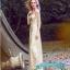 พร้อมส่ง ชุดราตรียาว แขนยาว กากเพชรระยิบระยับ สีทอง แนว Gatsby (ซิปหลัง) thumbnail 3