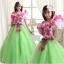 พร้อมเช่า ชุดแฟนซี ชุดราตรียาว สีเขียวอ่อน Cherry Blossom แต่งระบายสีชมพู ปักเลื่อมละเอียด thumbnail 18