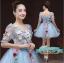 พร้อมเช่า ชุดแฟนซีสั้น สีฟ้า แขนยาว แต่งดอก Fairy สไตล์เจ้าหญิง กระโปรงพองสวยชายย้วย เชือกผูกหลัง thumbnail 8