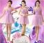พร้อมเช่า ชุดราตรีสั้น ชุดเพื่อนเจ้าสาว ไหล่เดียว สีม่วง Purple Pp-001B thumbnail 12