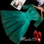 พร้อมส่ง ชุดราตรีสั้น แบบไหล่ปาด แขนยาว ผ้าซาติน แต่งลูกไม้สวยหรู สีเขียว (เชือกผูกหลัง) thumbnail 1