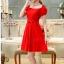 พร้อมเช่า ชุดราตรีสั้น สีแดง แขนตุ๊กตามีโบว์ ผ้าชีฟอง แบบสวยหวาน เพิ่มดอกช่วงเอว thumbnail 4
