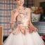 พร้อมเช่า ชุดแฟนซี ชุดราตรีสั้น หวานแบบ Vintage ผ้าโปร่งลายดอกไม้ กระโปรงผ้าแก้วสีขาว สวยหวาน thumbnail 2