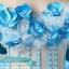 พร้อมเช่า ชุดแฟนซี ชุดราตรียาว สีฟ้า-ขาว แบบไหล่ปาด กระโปรงผ้าแก้วพองสวย แต่งดอก&ลูกปัด เชือกผูกหลัง thumbnail 7