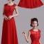 พร้อมเช่า ชุดราตรียาว สีแดง แบบเรียบหรู แต่งลูกไม้เซาะดอก ปักลูกปักมุก thumbnail 4