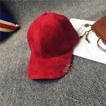 หมวกแฟชั่นเกาหลี หมวกเบสบอล พร้อมห่วงติดปีกหมวก : สีแดง