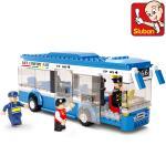 ขนส่ง (Transport) SLUBAN-0330. ตัวต่อเลโก้จีน รถบัสน้ำเงิน 235 ชิ้น