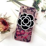 เคส tpu ดอกไม้ซ่อนกระจก ไอโฟน 6/6s plus 5.5 นิ้ว-สีดำ