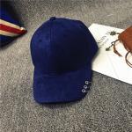 หมวกแฟชั่นเกาหลี หมวกเบสบอล พร้อมห่วงติดปีกหมวก : สีน้ำเงิน