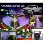 ผ้ายางปูพื้นรถยนต์เข้ารูป Chevrolet Colorado Cab ลายธนูสีม่วงขอบเขียว