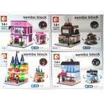 Mini Street เมืองจิ๋ว - Sembo Block SD 6504-6507 Mini City เมืองจิ๋ว ชุด 4 กล่อง รุ่นมีไฟ ส่งฟรี EMS