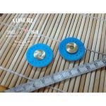 กระดุมแม่เหล็ก ขอบหนัง วงกลม สีฟ้าเข้ม ขนาด 3 cm