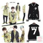 เสื้อเบสบอล เสื้อกันหนาว GOT7 สีดำ ขาว : XXL
