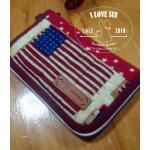 กระเป๋าใบกลางโทนแดง ผ้าอเมริกา - สั่งทำ