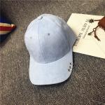 หมวกแฟชั่นเกาหลี หมวกเบสบอล พร้อมห่วงติดปีกหมวก : สีฟ้าอ่อน