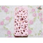 เคสฉลุลายดอกไม้แต่งมุก ไอโฟน 5/5s-สีชมพูพาสเทล
