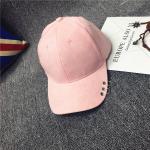 หมวกแฟชั่นเกาหลี หมวกเบสบอล พร้อมห่วงติดปีกหมวก : สีชมพู