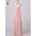 ชุดเพื่อนเจ้าสาว ชุดราตรียาว Pink-002 ผ้าชีฟอง สีชมพูอ่อน แบบ E คล้องคอ แต่งดอกไม้สวยหวาน