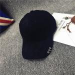 หมวกแฟชั่นเกาหลี หมวกเบสบอล พร้อมห่วงติดปีกหมวก : สีดำ